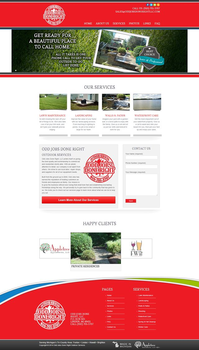 Local Business Website Redesign - Odd Jobs Done Right, LLC
