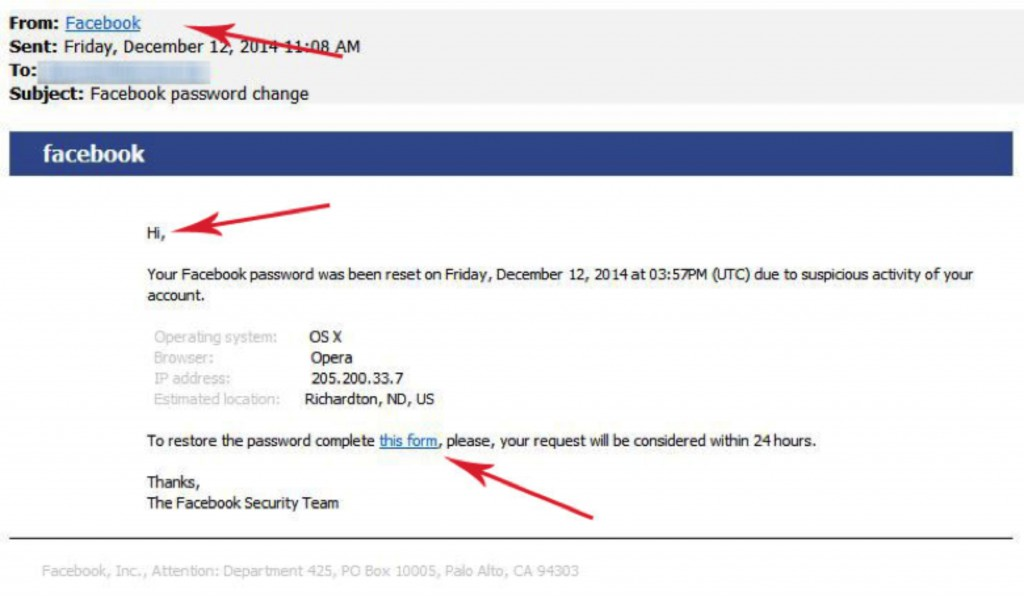 Facebook Password Reset Scam