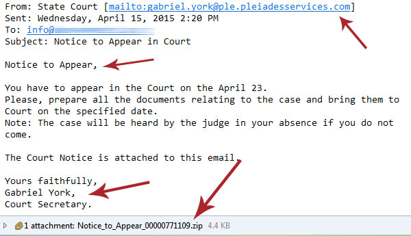 Court Notice Email Scam Spam