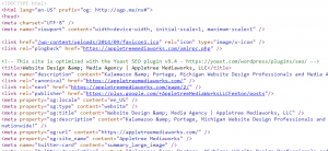 Example of HTML code